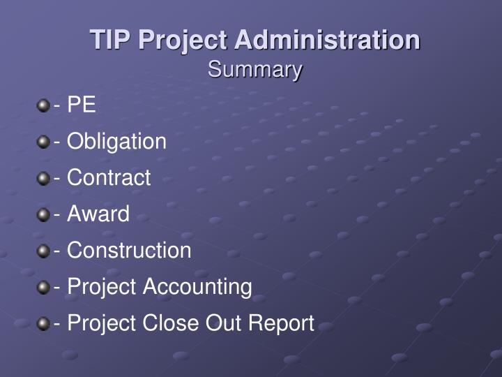 TIP Project Administration