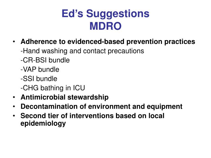 Ed's Suggestions