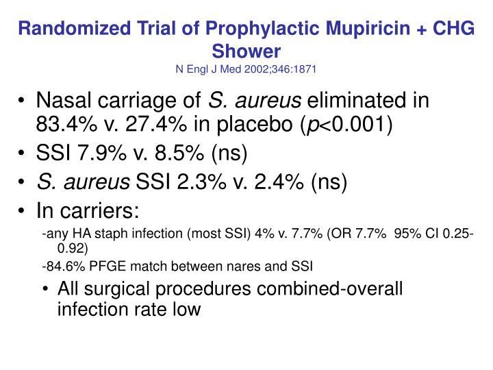 Randomized Trial of Prophylactic Mupiricin + CHG Shower