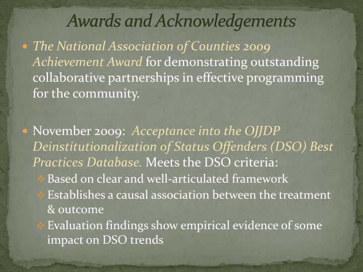 Awards and Acknowledgements