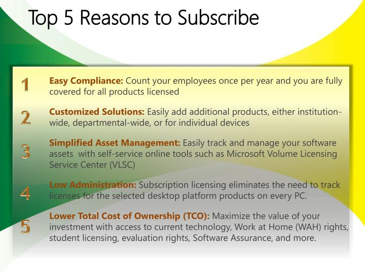 Top 5 Reasons to Subscribe