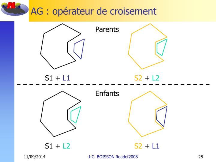 AG : opérateur de croisement