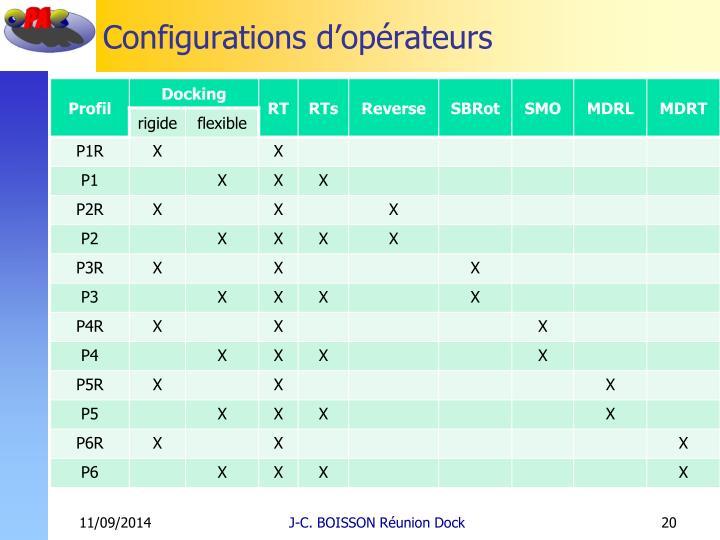 Configurations d'opérateurs