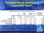 pavement needs identified in legislative report
