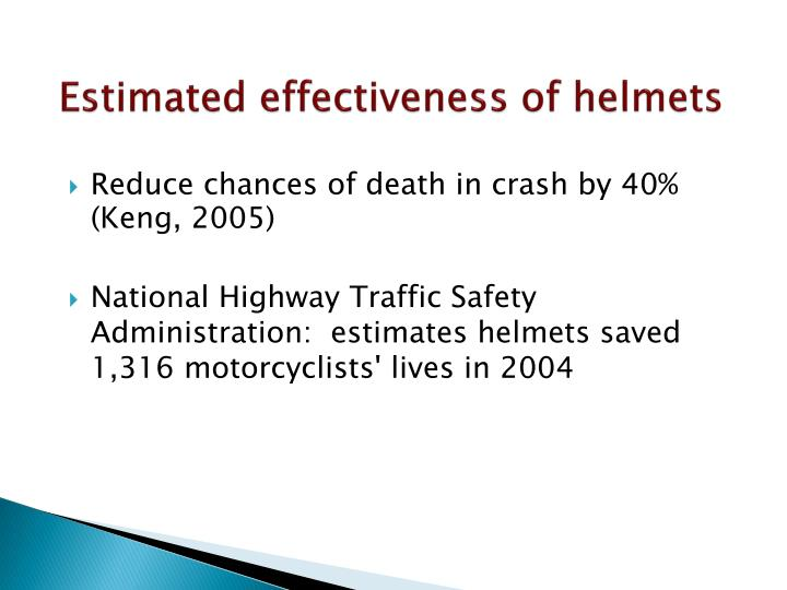 Estimated effectiveness of helmets