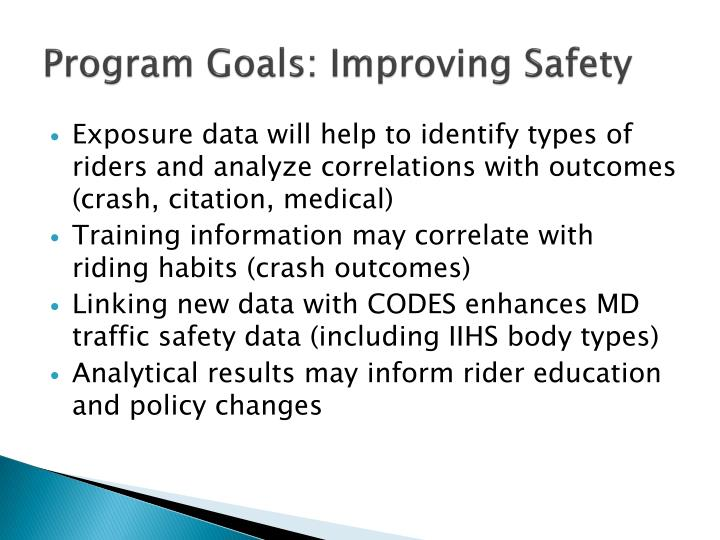 Program Goals: Improving Safety