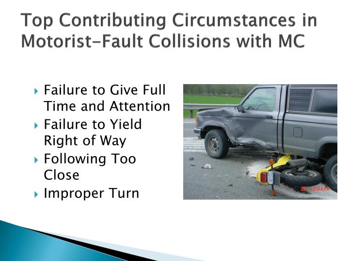 Top Contributing Circumstances in Motorist-Fault Collisions with MC