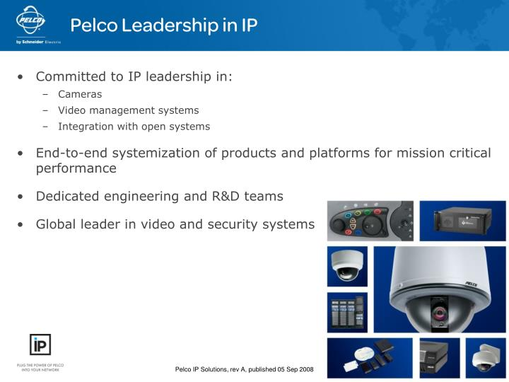 Pelco Leadership in IP