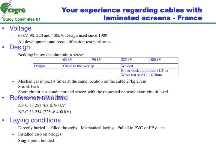 Your experience regarding cables with laminated screens - France