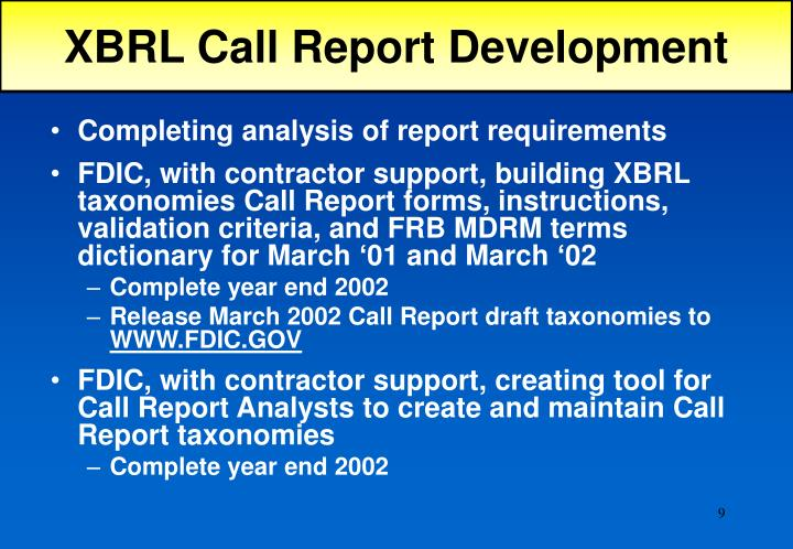 XBRL Call Report Development