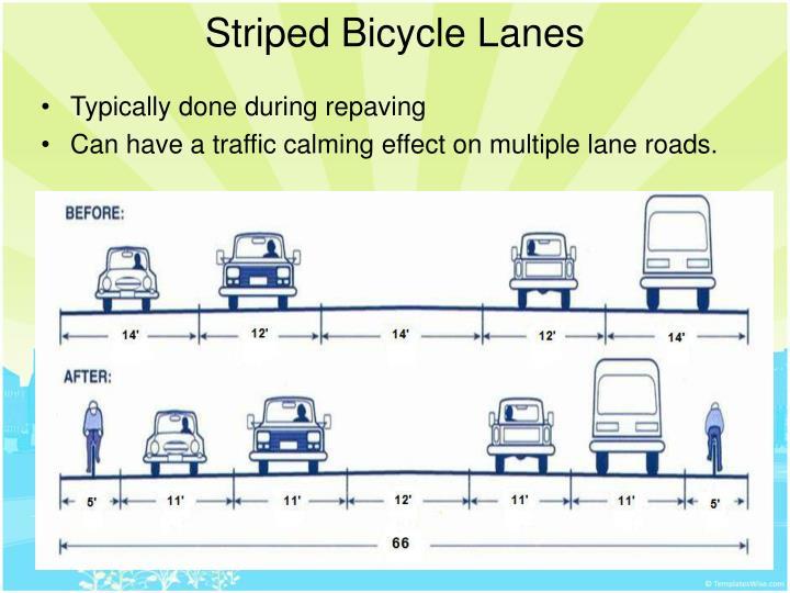 Striped Bicycle Lanes