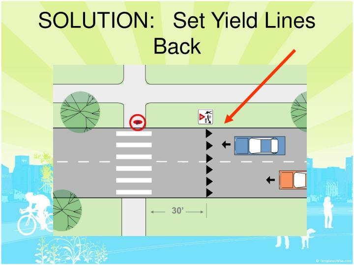SOLUTION:   Set Yield Lines Back
