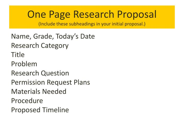 One Page Research Proposal