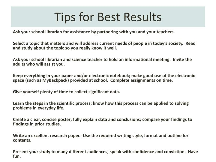 Tips for Best Results