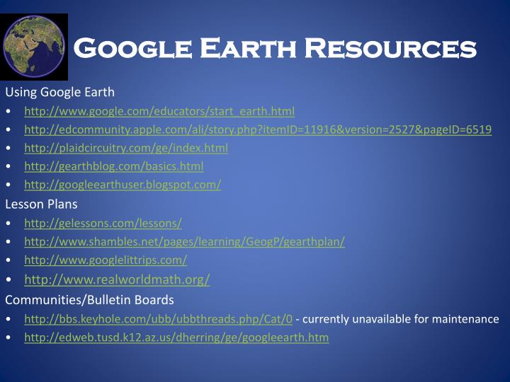 Google Earth Resources