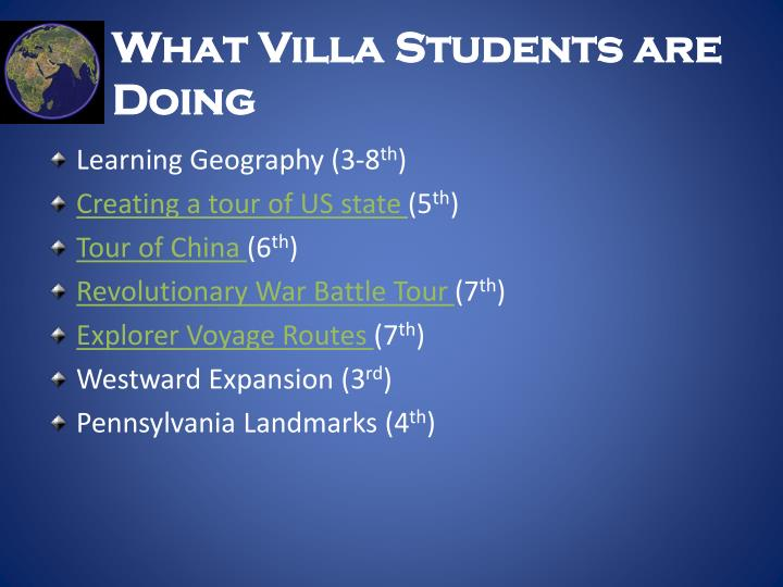 What Villa Students are Doing