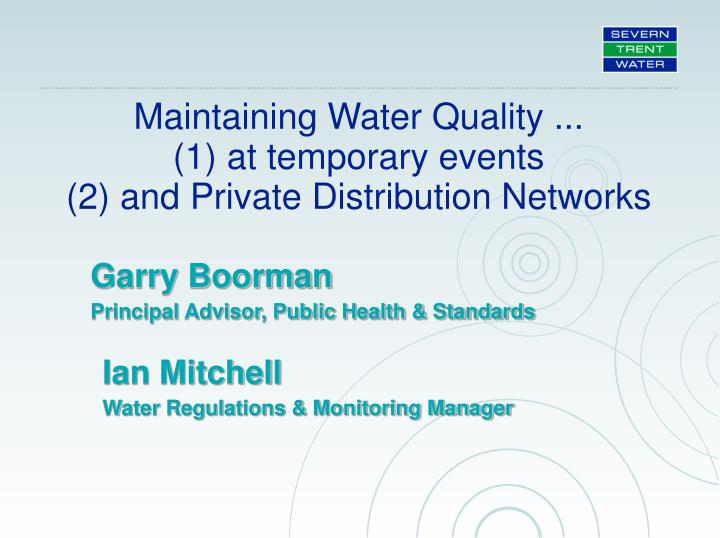 Maintaining Water Quality ...