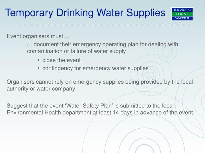 Temporary Drinking Water Supplies