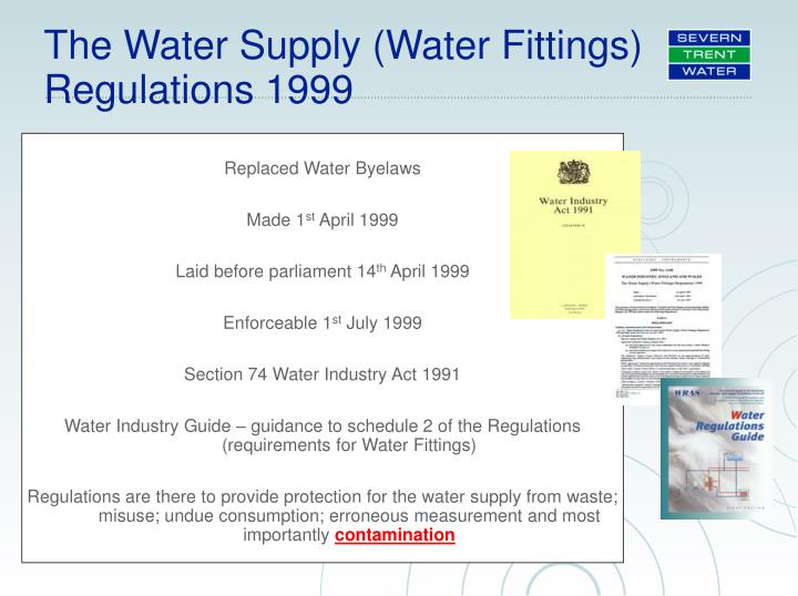 The Water Supply (Water Fittings) Regulations 1999