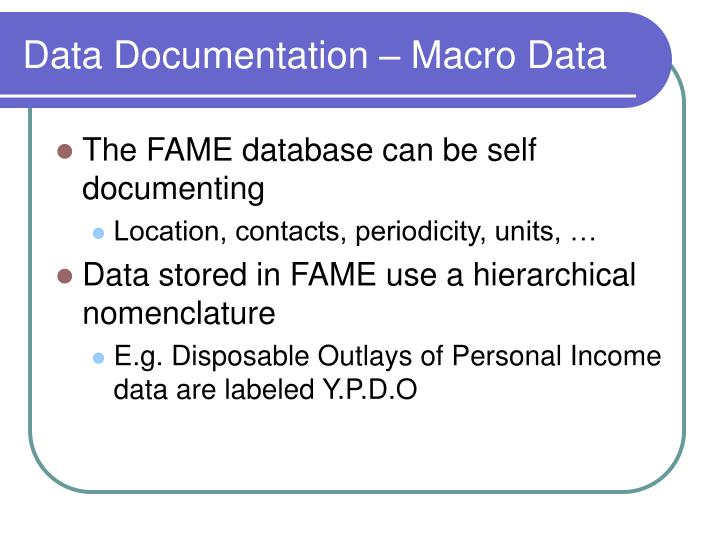 Data Documentation – Macro Data