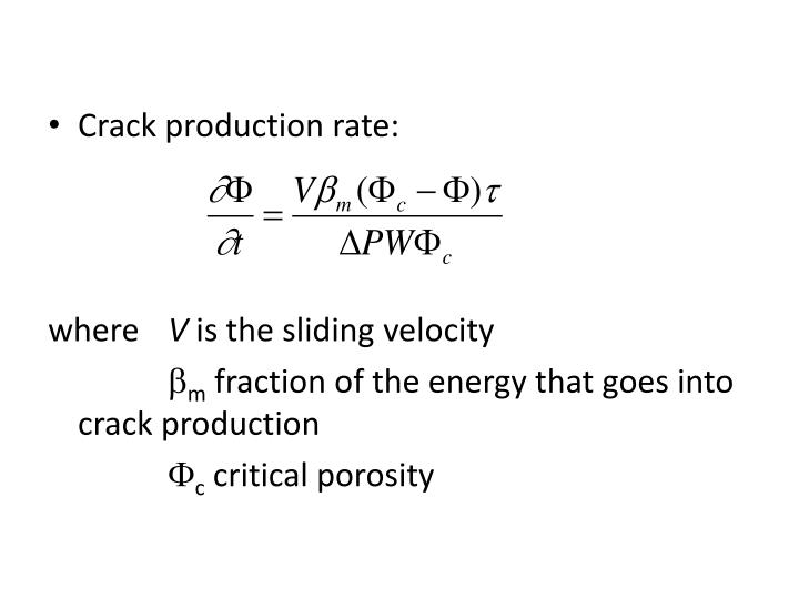Crack production rate: