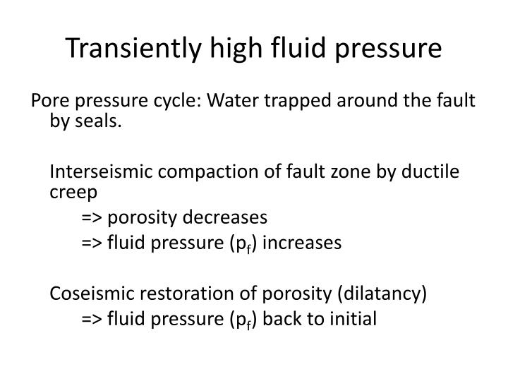 Transiently high fluid pressure