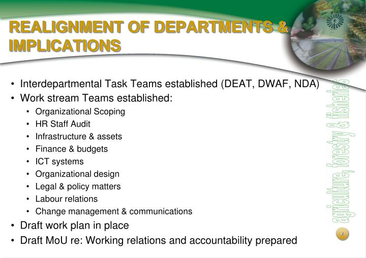 Realignment of departments implications