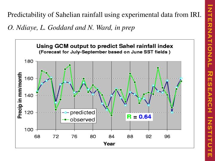Predictability of Sahelian rainfall using experimental data from IRI.