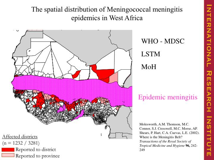 The spatial distribution of Meningococcal meningitis epidemics in West Africa