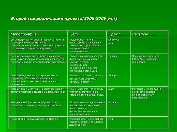 Второй год реализации проекта(2008-2009 уч.г)