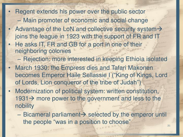 Regent extends his power over the public sector