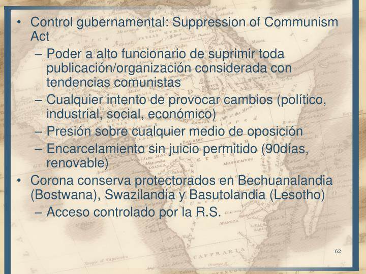 Control gubernamental: Suppression of Communism Act
