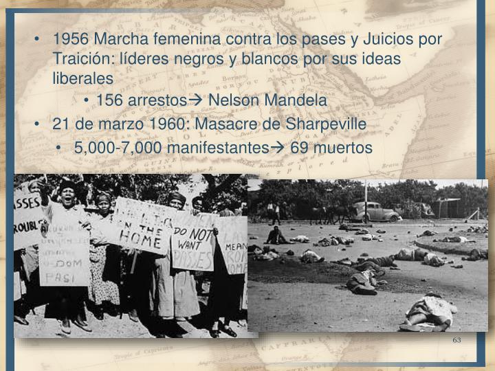 1956 Marcha femenina contra los pases y Juicios por Traición: líderes negros y blancos por sus ideas liberales