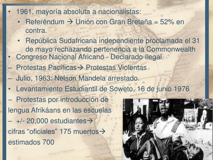 1961, mayoría absoluta a nacionalistas: