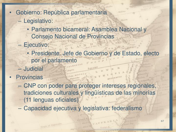 Gobierno: República parlamentaria