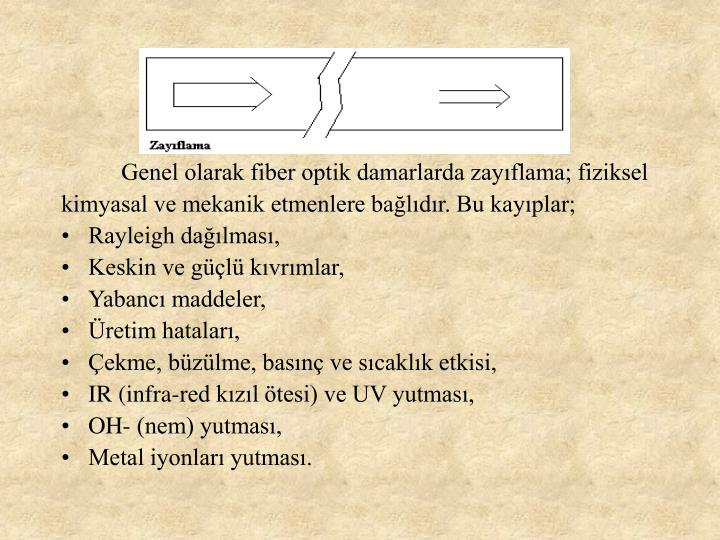 Genel olarak fiber optik damarlarda zayflama; fiziksel