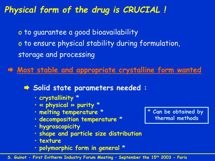 Physical form of the drug is CRUCIAL !