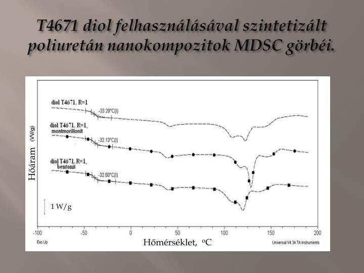 T4671 diol felhasználásával szintetizált poliuretán nanokompozitok MDSC görbéi.