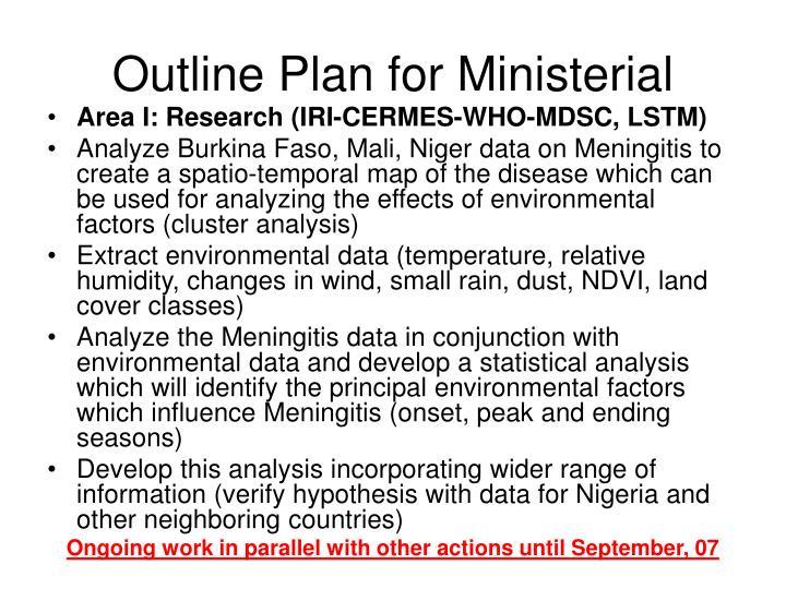 Outline Plan for Ministerial