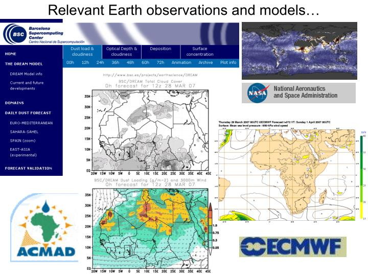 Relevant Earth observations and models…