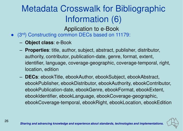 Metadata Crosswalk for Bibliographic Information (6)