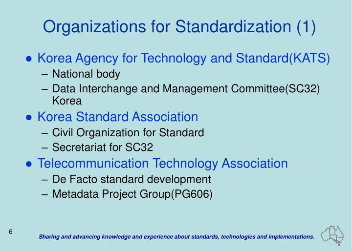 Organizations for Standardization (1)