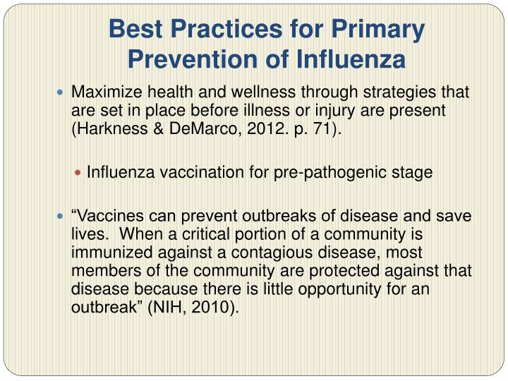 Best Practices for Primary Prevention of Influenza