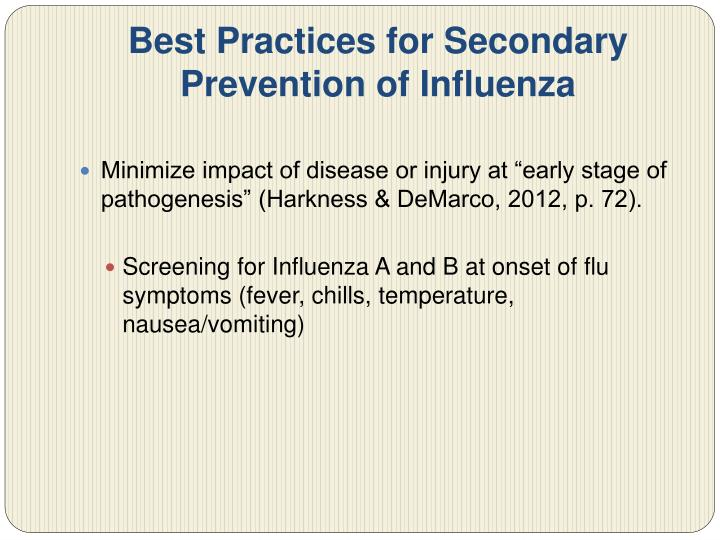 Best Practices for Secondary Prevention of Influenza