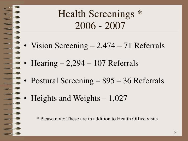 Health Screenings *