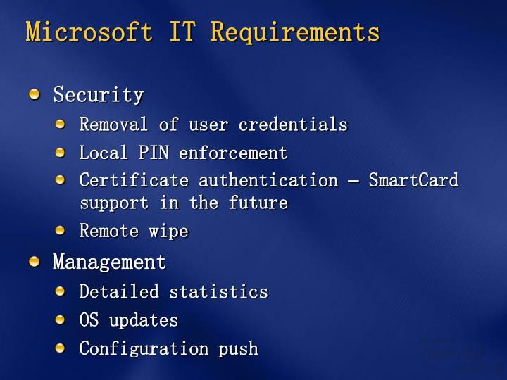 Microsoft IT Requirements