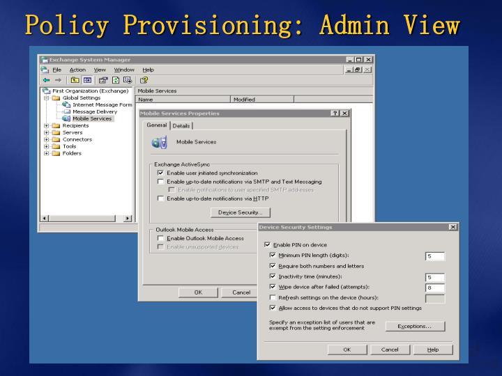 Policy Provisioning: Admin View