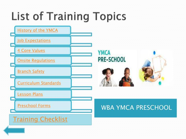 List of Training Topics