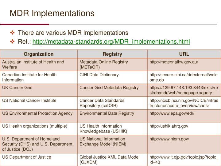 MDR Implementations