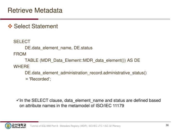 Retrieve Metadata